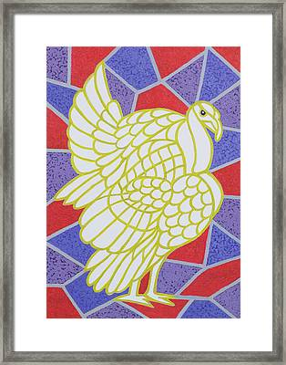 Turkey On Stained Glass Framed Print by Pat Scott
