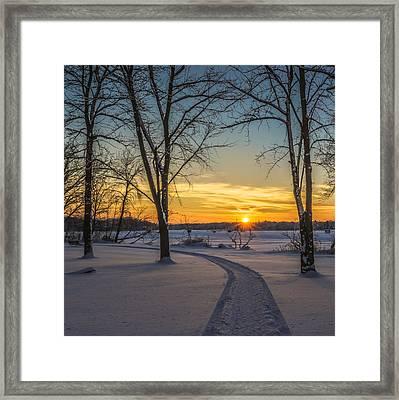 Turn Left At The Sunset Framed Print by Randy Scherkenbach