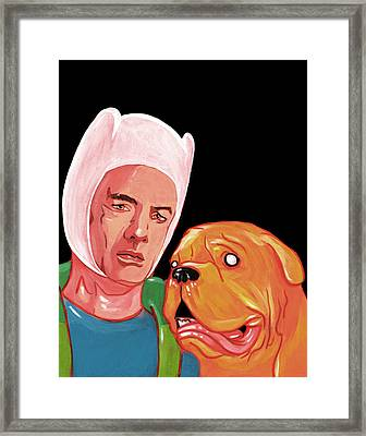 Turnery And Hooch Meets Adventure Time  Framed Print by Jason  Wright