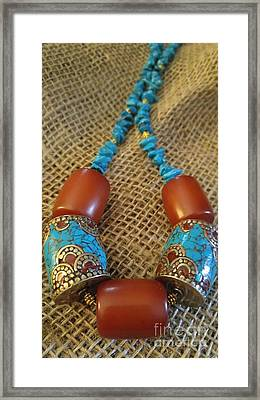 Turquoise Amber, Nepal Tibetan Beads Framed Print by Diane Greco-Lesser