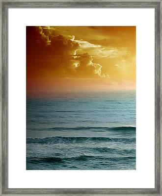 Turquoise Amber Sunrise Framed Print by Maria Eames