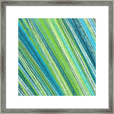 Turquoise And Green Art Framed Print by Lourry Legarde