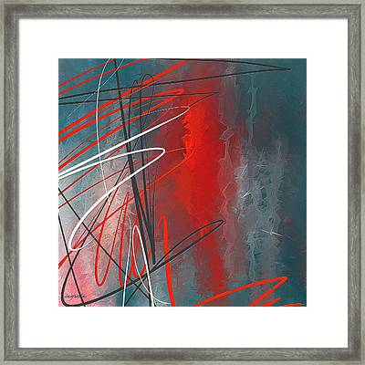 Turquoise And Red Modern Abstract Framed Print by Lourry Legarde