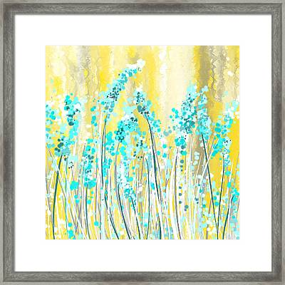 Turquoise And Yellow Framed Print by Lourry Legarde