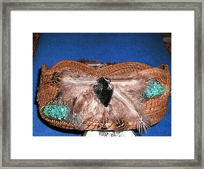 Turquoise Feather Pine Needle Basket Framed Print by Russell  Barton