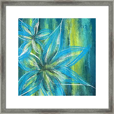 Turquoise Florals Framed Print by Lourry Legarde