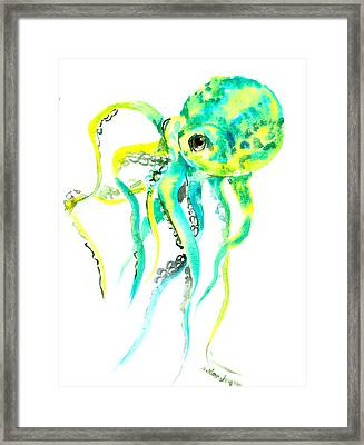 Turquoise Green Octopus Framed Print by Suren Nersisyan