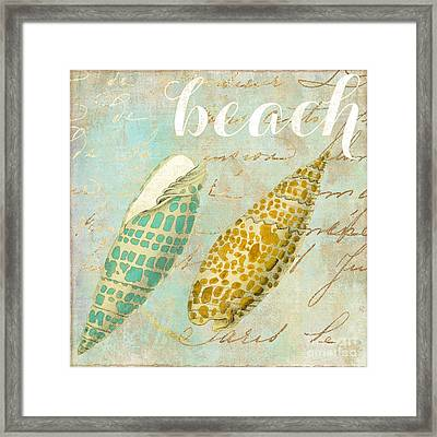 Turquoise Sea Shells Framed Print by Mindy Sommers