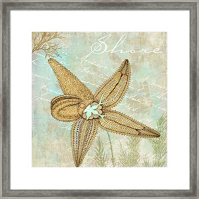 Turquoise Sea Starfish Framed Print by Mindy Sommers