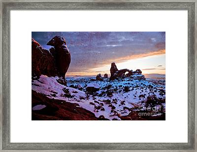 Turret Arch Red V Framed Print by Irene Abdou