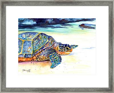 Turtle At Poipu Beach 2 Framed Print by Marionette Taboniar