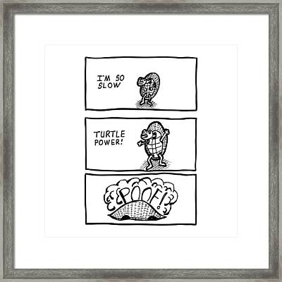 Turtle Power Comic Framed Print by Karl Addison
