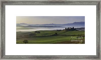 Tuscan Dawn Pano Framed Print by Brian Jannsen