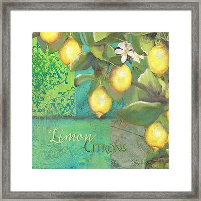 Tuscan Lemon Tree - Damask Pattern 2 Framed Print by Audrey Jeanne Roberts