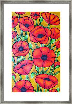 Tuscan Poppies - Crop 1 Framed Print by Lisa  Lorenz