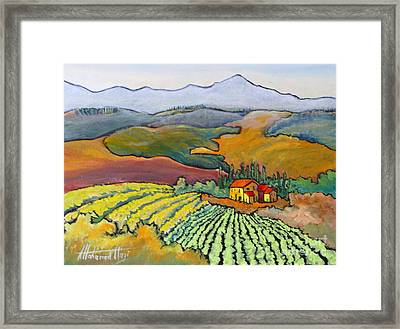 Tuscan Vineyard Framed Print by Mohamed Hirji
