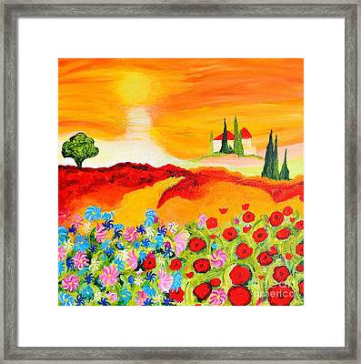 Tuscan Wildflowers Framed Print by Art by Danielle
