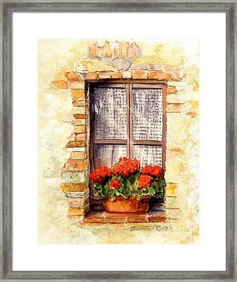 Tuscan Window Framed Print by Bonnie Rinier