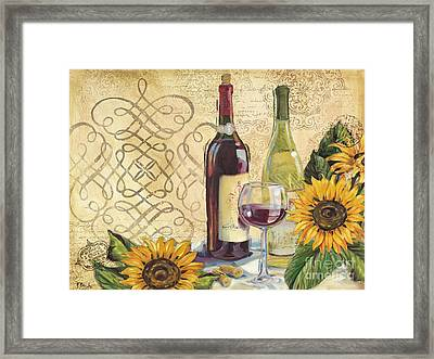 Tuscan Wine And Sunflowers Framed Print by Paul Brent