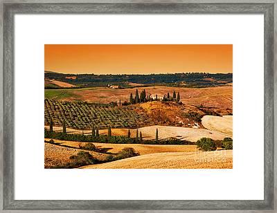 Tuscany Landscape At Sunset Framed Print by Michal Bednarek