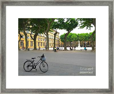 Tuscany - Lucca - Bike Framed Print by Italian Art