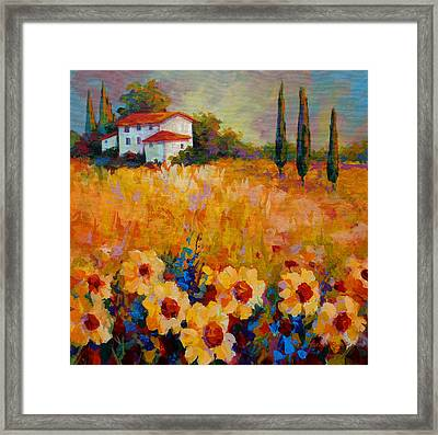 Tuscany Sunflowers Framed Print by Marion Rose