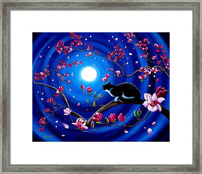 Tuxedo Cat In A Japanese Magnolia Tree Framed Print by Laura Iverson