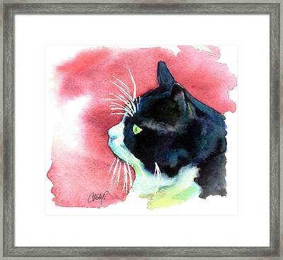 Tuxedo Cat Profile Framed Print by Christy  Freeman