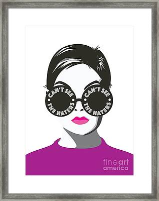 Twiggy Can't See The Haters Framed Print by Lauren Amelia Hughes