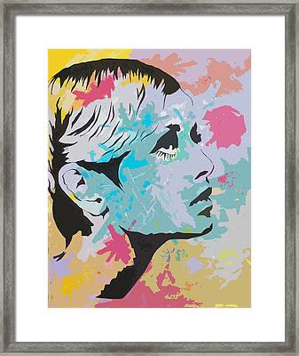 Twiggy Pop Art Portrait Framed Print by Andrew  Orton