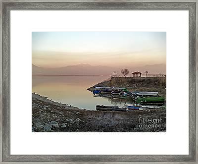 Twilight At The Lake Framed Print by Magdalen DgArtStudio