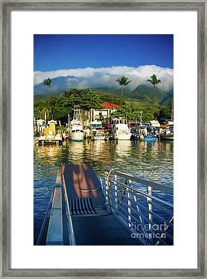 Twilight At The Marina Lahaina Harbour West Maui Hawaii Framed Print by Sharon Mau