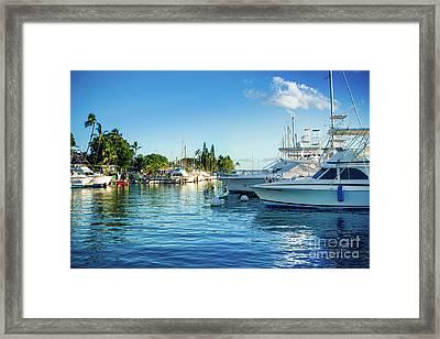 Twilight Blue Hour At The Marina  Framed Print by Sharon Mau