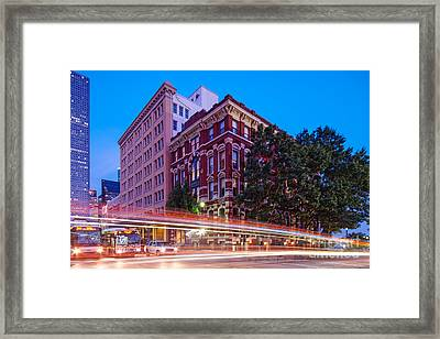 Twilight Blue Hour Shot Of The Cotton Exchange Building In Downtown Houston - Harris County Texas  Framed Print by Silvio Ligutti
