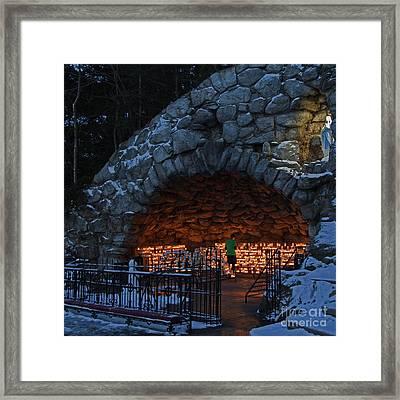 Twilight Grotto Prayer Framed Print by John Stephens