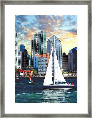 Twilight Harbor Curise1 Framed Print by Ron Chambers