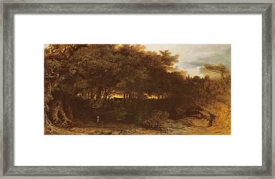 Twilight In The Woodlands Framed Print by John Martin