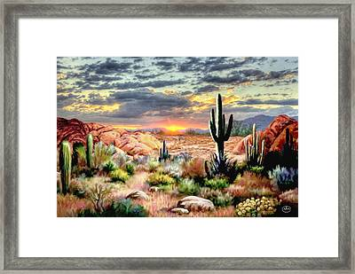 Twilight On The Desert Framed Print by Ron Chambers