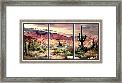 Twilight On The Desert Split Image Framed Print by Ron Chambers