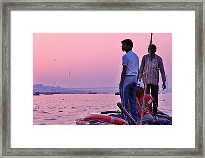 Twilight On The Ganges Framed Print by Kim Bemis