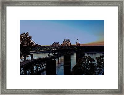 Twilight On The Mississippi - Vicksburg Bridges Framed Print by Barry Jones