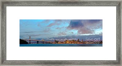 Twilight Panorama Of San Francisco Skyline And Bay Area Bridge From Treasure Island - California Framed Print by Silvio Ligutti