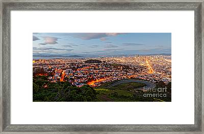 Twilight Panorama Of San Francisco Skyline And Bay Area From Twin Peaks Overlook - California Framed Print by Silvio Ligutti