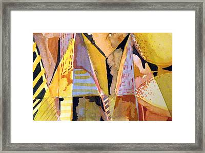Twin Golden Pyramids Framed Print by Mindy Newman