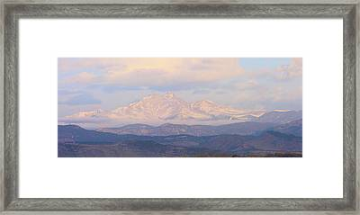 Twin Peaks Meeker And Longs Peak Panorama Color Image Framed Print by James BO  Insogna