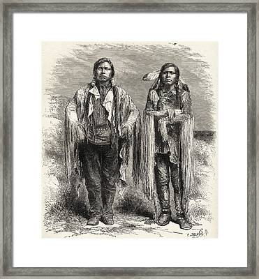 Two 19th Century Ute Indians. From El Framed Print by Vintage Design Pics