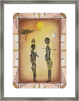 Two African Figures And Tree Framed Print by Sally Appleby