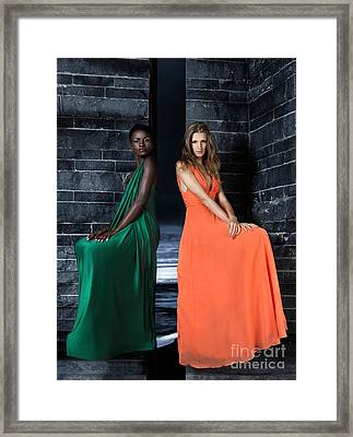 Two Beautiful Women In Elegant Long Dresses Framed Print by Oleksiy Maksymenko