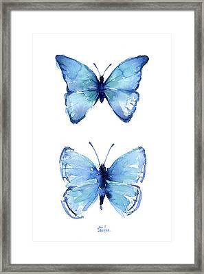 Two Blue Butterflies Watercolor Framed Print by Olga Shvartsur