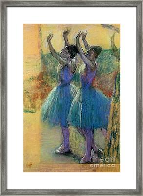 Two Blue Dancers Framed Print by Edgar Degas